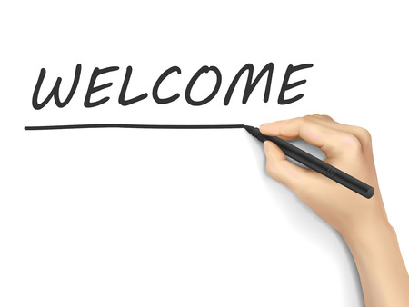 writer: welcome word written by hand on white background