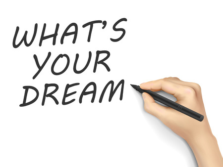 personality development: what is your dream words written by hand on white background