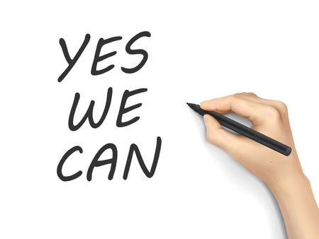 yes we can: yes we can words written by hand on white background