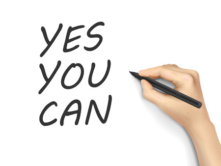 can yes you can: yes you can words written by hand on white background