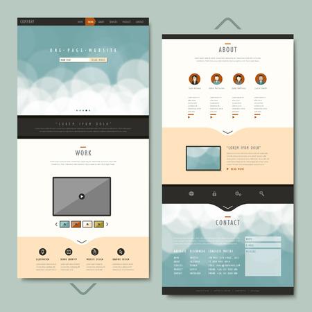 eenvoud één pagina website template design met abstracte achtergrond