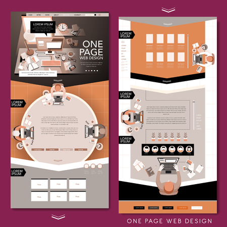 work place: one page website template design with top view of work place in flat design Illustration