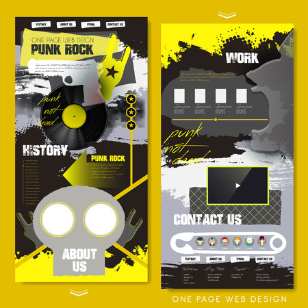 punk rock: trendy one page website template design with rock elements