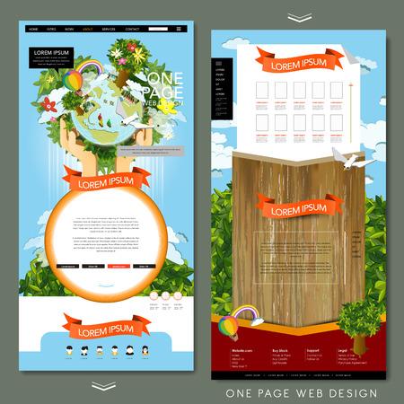 손을 잡고 지구 에코 개념 한 페이지 웹 사이트 템플릿 디자인