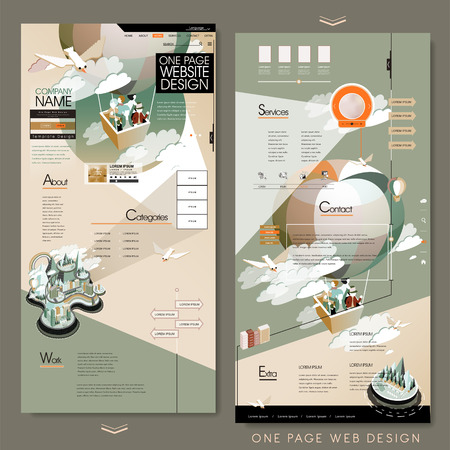 adorable one page website template design with hot air balloon tourism concept Ilustração