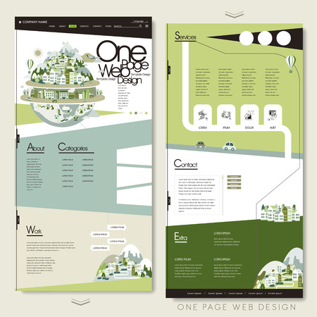 mountain road: ecology one page website template design with green planet