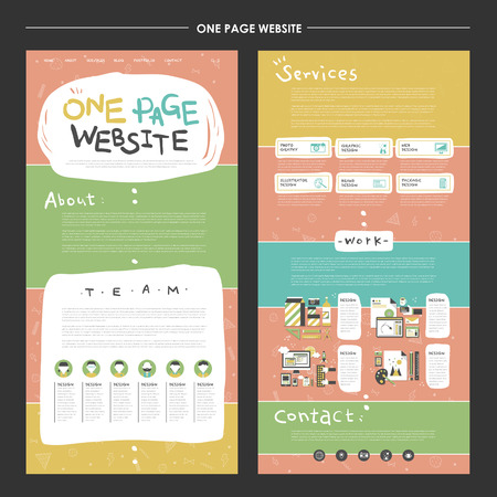 childlike one page website template design with colorful background