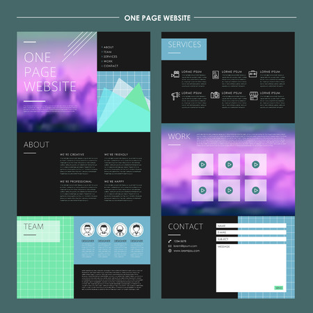 abstract one page website template design with attractive blurred background Illustration