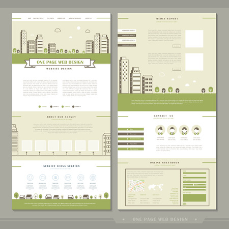 lovely one page website template design with green city scene