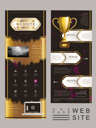 黄金のトロフィーと豪華な 1 つのページ web サイト テンプレートのデザイン  イラスト・ベクター素材