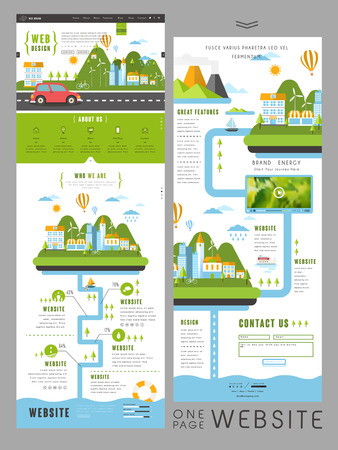 little town: lovely modern one page website template design with little town surrounded by mountains