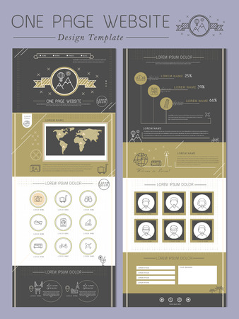 concise: elegant one page website template design in black and gold