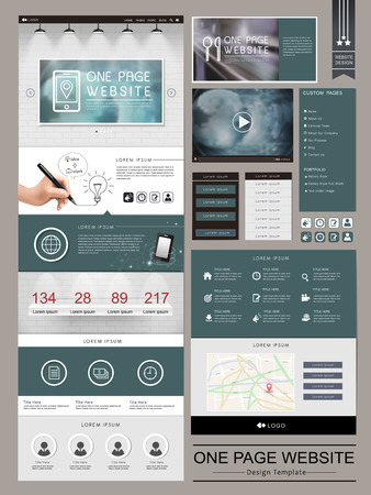 template: modern one page website template design with white brick wall elements Illustration