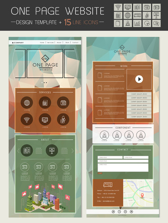 trendy one page website template design with crystal background Ilustrace
