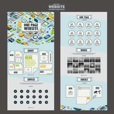 interface menu tool: lovely one page website template design with travel essentials