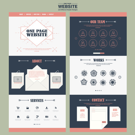 newsletter: simplicity one page website template design with exquisite line icons