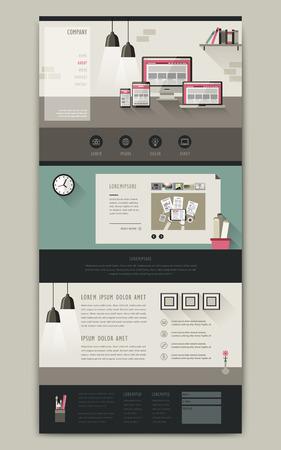 아늑한 직장 사랑스러운 한 페이지 웹 사이트 템플릿 디자인 일러스트