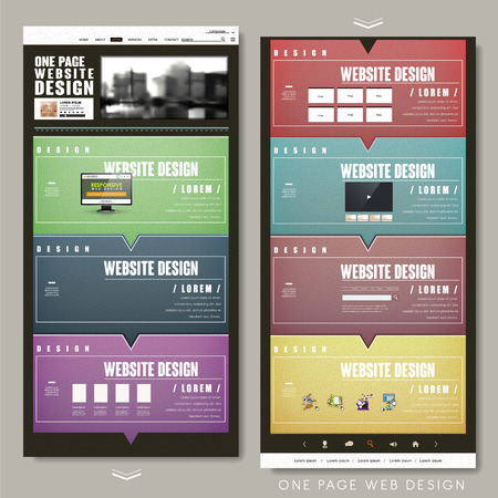 colorful one page website template design with speech bubble elements Illustration