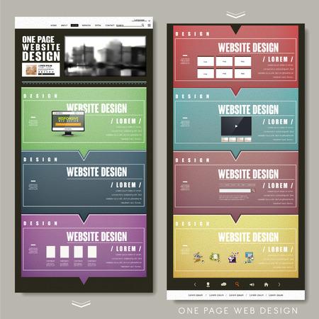 kleurrijke één pagina website template design met tekstballon elementen