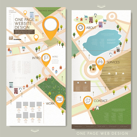childlike one page website template design with lovely town map Ilustração