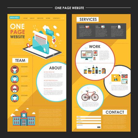 aantrekkelijke pagina website template design met de nieuwsbrief elementen in plat ontwerp