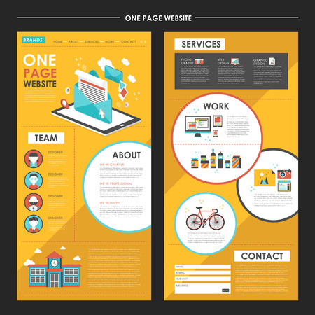 attractive one page website template design with newsletter elements in flat design