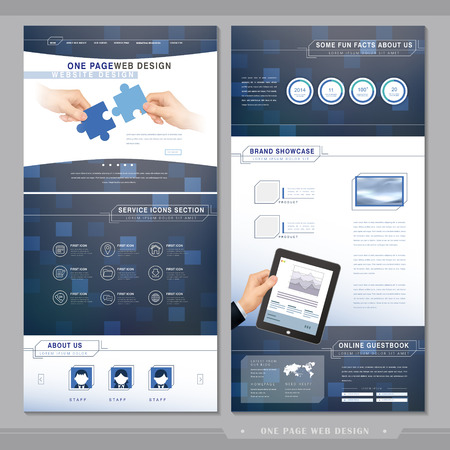 technical one page website template design with blue background