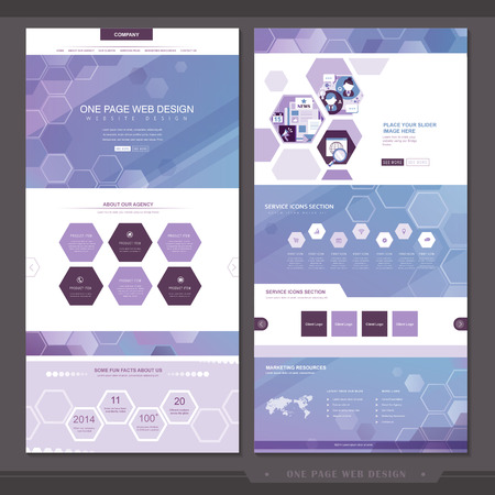 abstract one page website template design with hexagon elements in purple