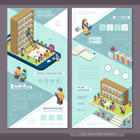 education concept one page website template design with a tablet showing library scene Illustration