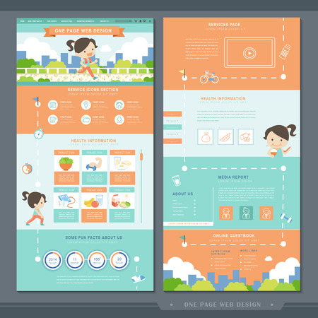 website backgrounds: healthy concept one page website template design with exercise flat design