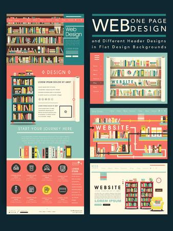 library: encantadora una p�gina de dise�o plantilla de p�gina web con la escena de la biblioteca en el dise�o plano