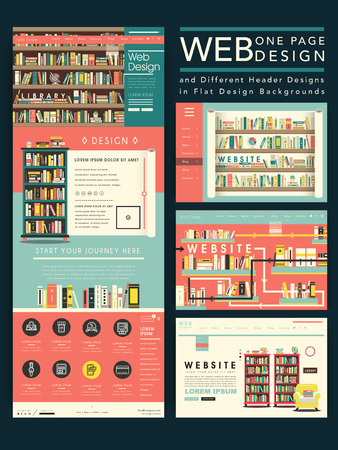 library: lovely one page website template design with library scene in flat design Illustration