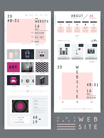 trendy one page website template design in pink and grey