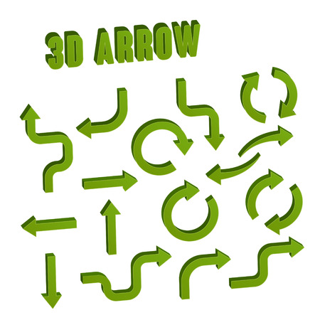 green arrow: 3d green arrow set collection over white background Illustration