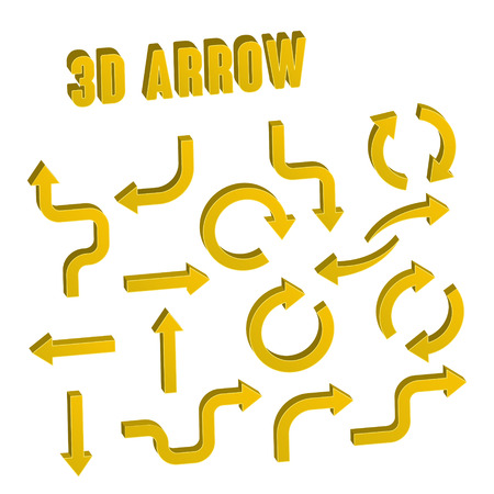 흰색 배경 위에 3d 노란색 화살표 세트 컬렉션 일러스트