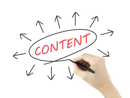 meta data: content word written by mans hand on white background Stock Photo