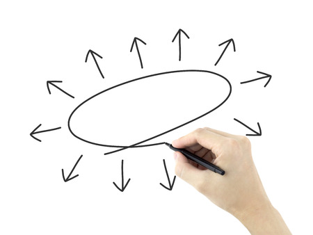 dispersed: empty diagram drawn by mans hand over white background Stock Photo