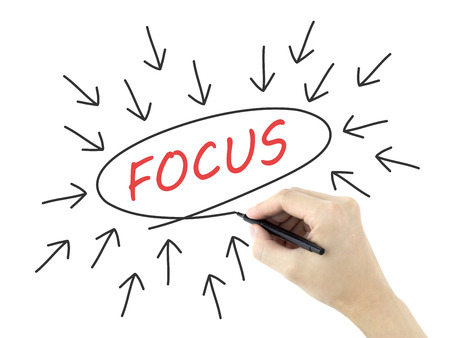 distinctness: focus word with arrows written by mans hand on white background Stock Photo