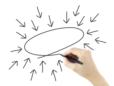 centralize: business concept drawn by mans hand over white background Stock Photo