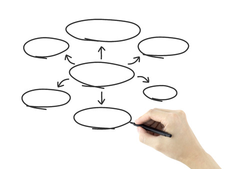 gist: empty diagram drawn by mans hand over white background Stock Photo