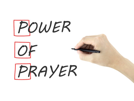 supplication: Power Of Prayer written by mans hand on white background