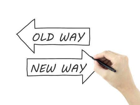 new way: old way or new way written by mans hand isolated on white background