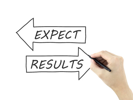 to expect: results and expect words drawn by mans hand on white background