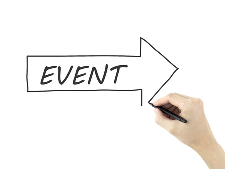 event word written by mans hand on white background photo