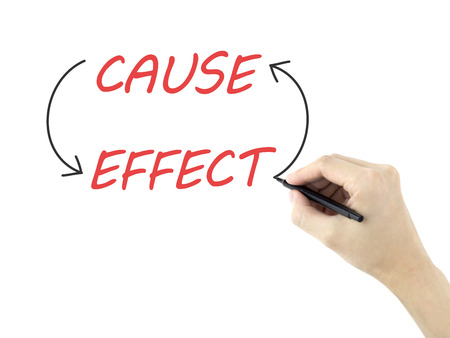 cause and effect: cause and effect written by mans hand over white background Stock Photo