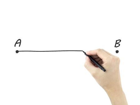 shortest: point A to B drawn by mans hand over white background