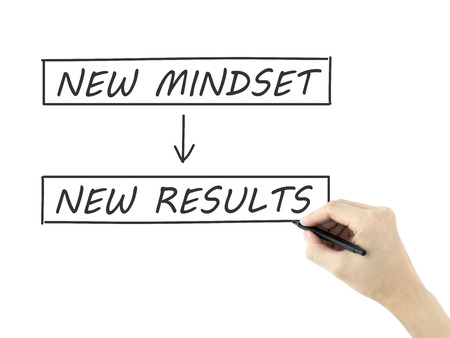 new mindset make new results written by mans hand on white background Stock Photo