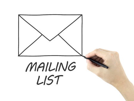 mailing: mailing list drawn by mans hand isolated on white background