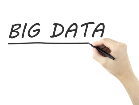 meta analysis: big data words written by mans hand on white background