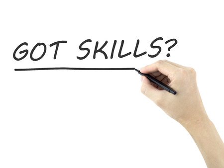 able to learn: got skills words written by mans hand on white background Stock Photo